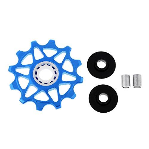 HomeDecTime 12T Road MTB Bike Bearing Jockey Guide Wheel Puleggia Deragliatore Posteriore in Ceramica - Blu