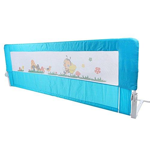 Riel de cama para niños, 180 x 64 cm, plegable, barandilla para cuna, barrera para cuna, protección contra caídas, para bebés y niños (azul)
