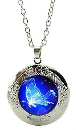 Necklace / Locket / Butterfly Art Under Glass Cabochon...