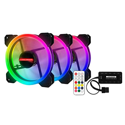 OocciShopp Ventilador de enfriamiento Colorido de Las PC, 3Pcs RGB 120Mm 12V Solar Eclipse Silencio Sistema Colorido de la Caja de la PC Ventilador de enfriamiento
