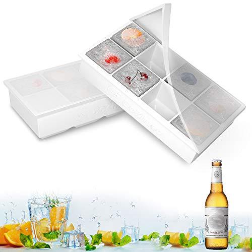 GoZheec Eiswürfelform mit Deckel, 2 Stück Eiswürfelschalen 8 Fach XXXL Silikon Eiswürfelbehälter LFGB Zertifiziert BPA Frei 5cm Eiswürfel Form für Bier, Whisky, Pudding oder Babynahrung (Weiß)
