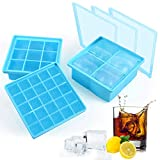 Silicone Ice Cube Tray Moulds - 3 Packs Lager & Small Square Ice Molds with Lid for Whiskey Cocktail Gin Drinks, BPA Free Baby Food Freezer Trays Stackable Ice Cubes Mould