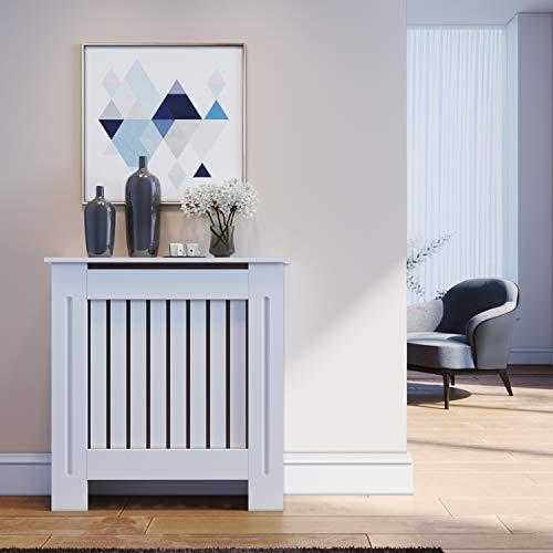 SONNI Cubierta de Radiador Blanco Moderno,Madera,Listón Vertical,Cubre de Calefacción Pequeño 78x19x81.5cm