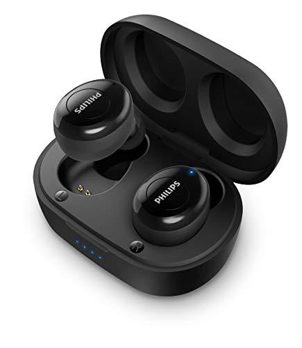 Philips Auriculares Intrauditivos Inalámbricos T2205BK/00 (In-Ear Bluetooth, Asistente De Voz, Larga Autonomía, Protección Contra Salpicaduras IPX4, Cargador Compacto) Negro - Modelo de 2020/2021