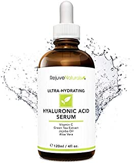 Hyaluronic Acid Serum [LARGE 4-OZ Bottle] Ultra-Hydrating Face Moisturizer. Anti Aging Anti Wrinkle with Vitamin C, E, Jojoba & Aloe. Plumps & Hydrates for Dry Skin & Fine Lines by RejuveNaturals
