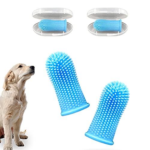 IKOZVI 360º Dog Fingerbrush Toothbrush  Ergonomic Design Dog Toothbrush and Toothpaste Full Surround Bristles Pet Toothbrush for Easy Cleaning2 Pack Blue