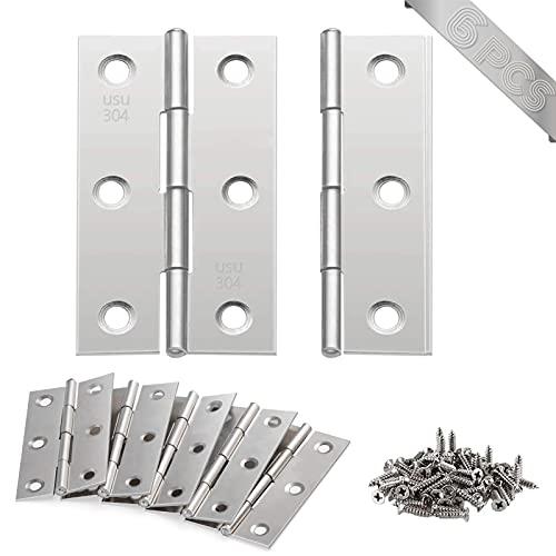 Bisagras para Puertas, 6 piezas Conectores de Bisagras Bisagras de acero inoxidable Bisagras Plegables con 36 piezas tornillos, para puerta de muebles de hogar
