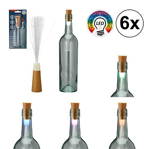 6er Set LED Flaschenlicht Fiberglas Lichterkette Stimmungslicht Flasche