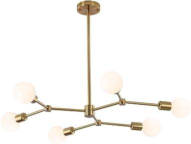 HAHZT Gold Sputnik Chandelier 6 Lights Industrial Pendant Lighting Modern Sputnik Chandelier for Dining Room Kitchen Living R