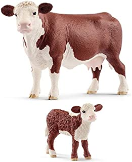 Schleich Set of Hereford Farm Animals with Cow and Calf: Quality Toys Bagged Together