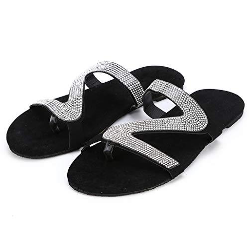 Flat Slippers for Women Fashion Casual Rhinestone Flip Flops Summer Open Toe All-Match Sandals
