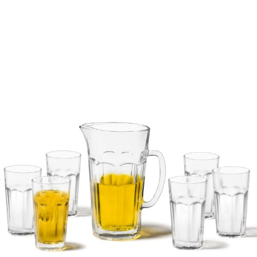 Leonardo Rock Getränke-Set, spülmaschinengeeignete Wasser-Gläser und Glas-Krug, 7er Set, 340 ml und 1500 ml, 022499