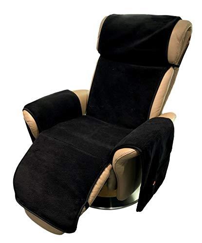 Alpenwolle Sesselschoner Relaxsessel anthrazit/schwarz mit Taschen 100% Wolle Kaschmiranteil