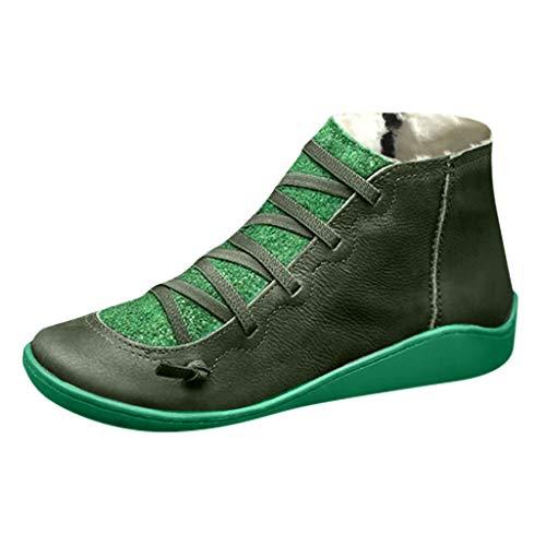 Yowablo Boots Damen Casual Flache Leder Retro Schnürstiefel Seitlicher Reißverschluss Runde Kappe Plus Samt (37 EU,Plus Samt-Grün)