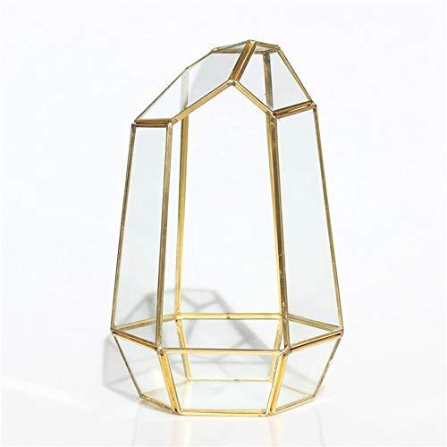 MINGZE piante trasparente geometrico terrario contenitore, Poliedro box desktop vaso per piante succulente Fern Moss Air miniature Outdoor Fairy Garden regalo decorativo (16.5*14.5*25cm, d'oro rame)