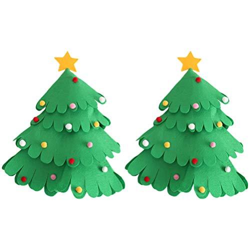 Amosfun - 2 Fundas Botellas Vino Navidad, árbol Navidad