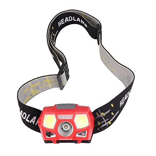 Linterna frontal LED, sensor de movimiento, linterna de cabeza COB 5 modos con diadema para acampar, senderismo, correr y trabajar