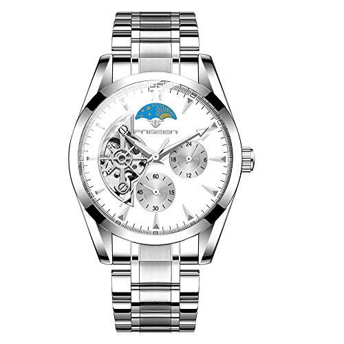 Reloj automático para Hombre, Esfera esquelética con Correa de Cuero Reloj de Cuerda automática de diseño clásico