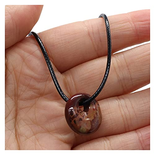 XINGTAO Piedra Rugosa Piedra Natural Colgante Collar Exquisito Ágaces de Cristal Turquesa Amatistas Encantos de Piedra con Hilo de Cera para Mujer Joyería (Length : 45cm, Metal Color : Rainbow Stone)
