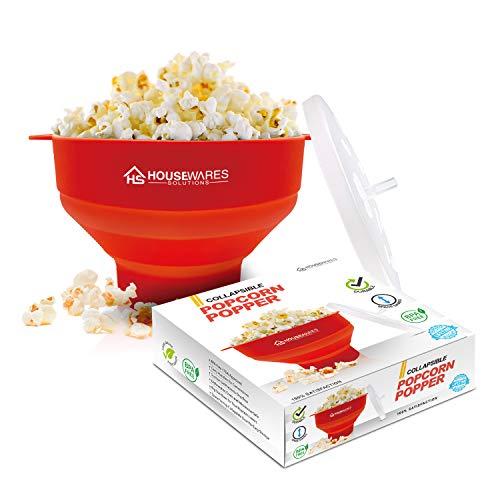 Popcornschüssel aus Silikon, zusammenklappbar, für die Mikrowelle geeignet, mit Deckel und Griffen
