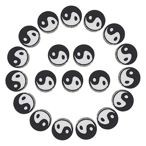 Milisten 100 Piezas de Espaciador Suelto Yin Yang Colgante de Cuentas de Taoismo DIY Colgantes de Símbolos para La Meditación de Yoga (/)