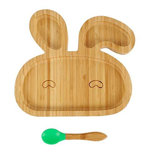 Piatto per Bambini in Bamboo Naturale con Ventosa Anticaduta Antiscivolo a Forma di Coniglio E un Cucchiaio Piastra di Alimentazione per Neonati (VERDE)