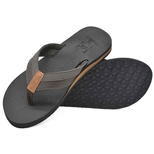 KuaiLu Chanclas Hombre Verano Playa Piscina Comodas Piel Sandalias Planas Caminar Antideslizante Yoga-Espuma Zapatos