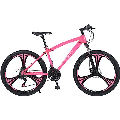 PBTRM Bicicleta MTB Bike Mountain Bike 26 Pulgadas 27 Velocidades, Horquilla Delantera Bloqueable, para Adultos Y Adolescentes, Altura Adecuada: 160-185Cm,Rosado
