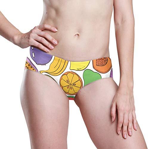 DEZIRO Abstract Kleurrijk Fruit Patroon Citroen en Kiwi Damesslipje Naadloze slipje Zachte Stretch Bikini Ondergoed