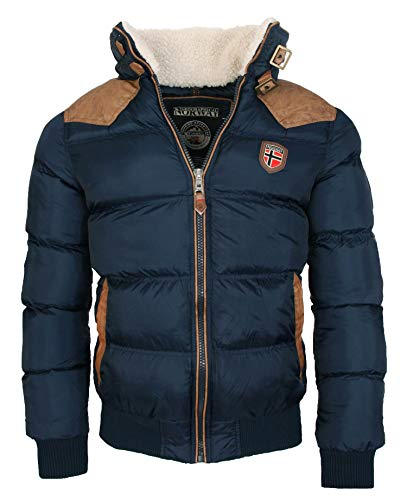 Geographical Norway warme Winterjacke Designer Herren Winter Stepp Jacke [GeNo-31-Navy-Gr.L]