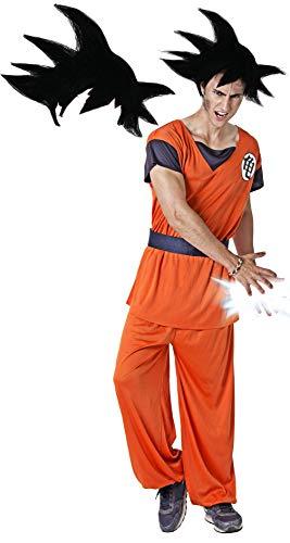 Gojoy Shop- Disfraz de Son Goku de los Guerreros Z Dragon Ball para Hombres Canaval (Contiene Peluca, Camiseta, pantalón y cinturón, Talla Unica)
