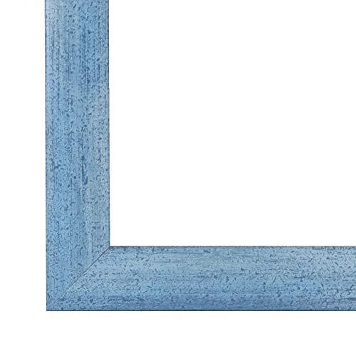 PN35 Bilderrahmen 50x70 cm in Hellblau gewischt mit entspiegelten Acrylglas