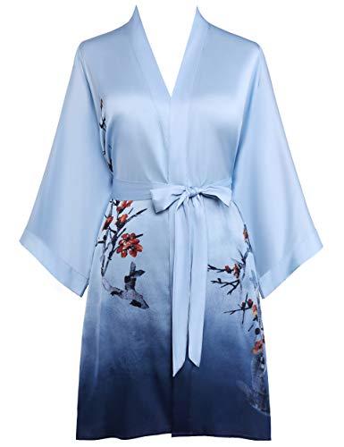 PRODESIGN Damen Morgenmantel Kurz Gradient Pflaumenblüte Gedruckt Satin Bademantel Sommer Blumen Muster Robe Chinesisch Stil Damen Nachtwäsche (Gradient Blau)