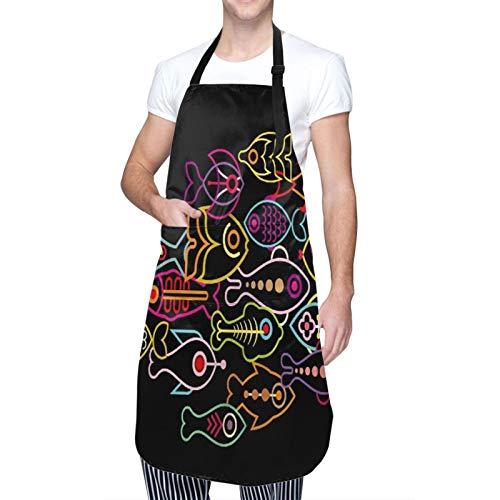 NOLOVVHA Ajustable Colgante de Cuello Personalizado Delantal Impermeable,Escuela de estilo abstracto sobre diseño de peces,Babero de Cocina Vestido para Hombres Mujeres con 2 Bolsillos Centrales