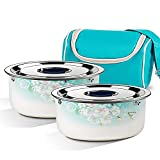 Caja de Almuerzo Bento - Dos Recipientes de Comida Extraíbles - Incluye Bolsa de Almuerzo a Juego con Aislamiento para Adulto – Material Cerámico