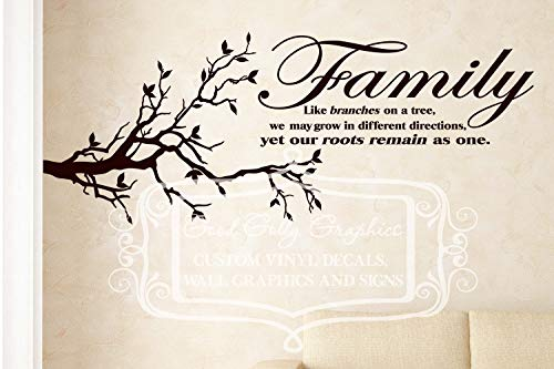 Family Like Branches on a Tree We May Grow in Different Directions Yet Our Roots Reste as one Vinyl Sticker mural en vinyle Motif famille