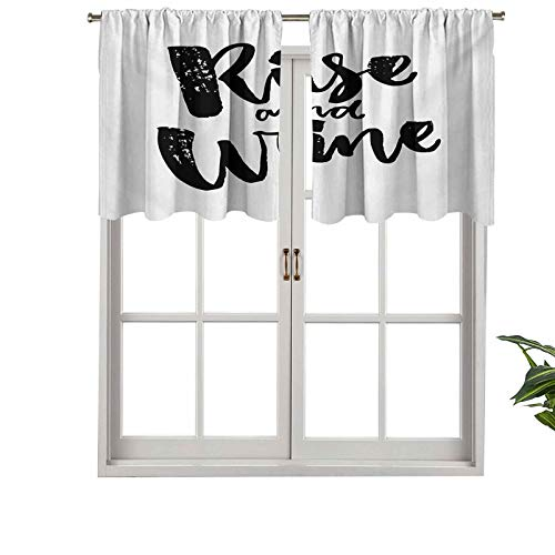 Hiiiman Cenefas de cortina con bolsillo para barra de vino, diseño de caligrafía con cita humorística, juego de 2, 42 x 36 pulgadas, aislamiento térmico para sala de estar