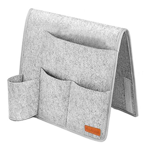 Garispace - Bolsa organizadora de fieltro para colgar en la mesita de noche, con bolsillos para colgar en la cama, escritorio, sofá, TV y mando a distancia, color gris