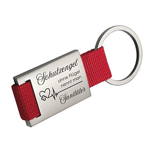 Geschenke 24 Schlüsselanhänger Schutzengel ohne Flügel nennt Man Sanitäter (rot, ohne Wunschname): mit Spruch und Name personalisiert - für Krankenschwestern und Notfallsanitäter