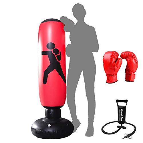 Xloves Boxsack Kinder 160 cm, Standboxsack Boxsack Stehend Aufblasbare Boxsäcke Tumbler Erwachsene Fitness Dekompression Sandsäcke Kick Kampftraining, Mit manueller Luftpumpe und Boxhandschuhen