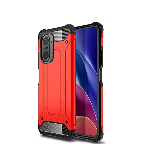 NEINEI Hülle für Xiaomi Poco F3,Fallfestigkeit in Militärqualität Outdoor Handyhülle,PC/TPU Silikon Bumper Stoßfeste Kratzfeste Schutzhülle Hülle Cover-Rot