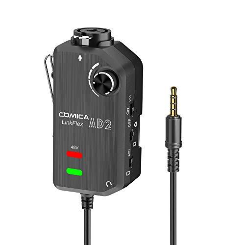 Comica LINKFLEX.AD2 Preamplificatore microfonico XLR   6.35mm, monitor in tempo reale, adattatore audio interfaccia XLR chitarra per iPhone, dispositivo Android e fotocamere DSLR