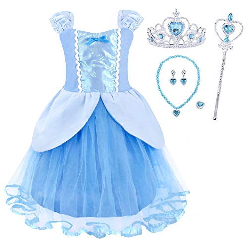 HenzWorld Princess Costume Dress Birthday Party Supplies Cosplay Jewelry Accessories Scepter Tiara Tutu Skirt Patchwork Blue Outfits Little Girls 2-3 Years