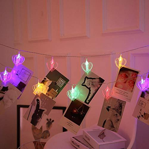Renqian 10 20 40 LED slinger kaart foto clip lichtketting Fairy Decor licht kerst slaapkamer DIY Liefde wasknijpers vormen Kerstmis lamp Ii-warm wit 1,5 miljoen 10 LED