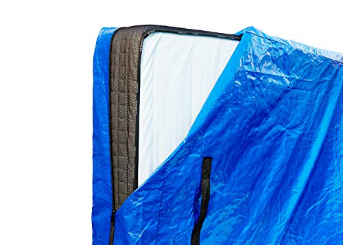 Mattress Cover - Re-usable - Moving - Thick & Strong Zippered Wrap with Double Stitching - Storage Bag with 8 PP Webbing Handles - Waterproof PE Tarp Case - Mattress Protector & Carrier - Blue, King