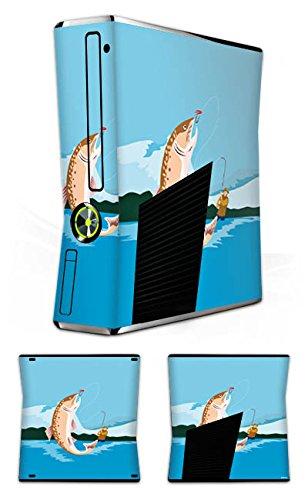 DeinDesign Skin kompatibel mit Microsoft Xbox 360 Slim Aufkleber Folie Sticker Angeln Fischen Illustration