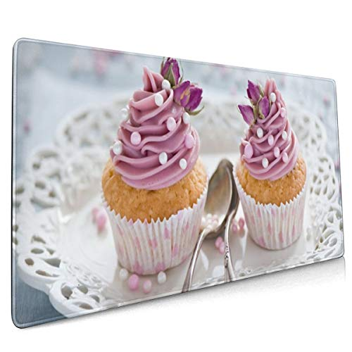 Cupcakes Cream Lepel Dessert Desserts Cake Mouse Pad Niet Slip Rubber Groot Gaming Keyboard Mat 15.8x35.5 In