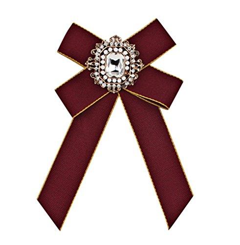 Namgiy Brosche Schleifen Damen Fliege Zubehör Anzug Brautkleider Hochzeit Fliegenschleife Krawattenklammer, dunkelrot, 15 * 11cm
