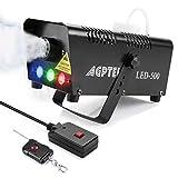 Máquina de niebla AGPtEK con mando a distancia inalámbrico y luz LED multicolor, 500 W, estable y portátil, apta para Halloween, Navidad, bodas y actuaciones, etc.