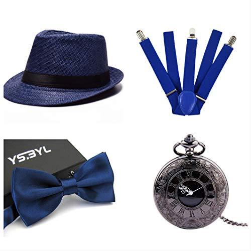 thematys Cappello Gangster Mafia al Capone + Farfallino + Bretelle + Orologio da Taschino - Set Costumi Anni '20 per Donne e Uomini - Perfetto per Carnevale (2)